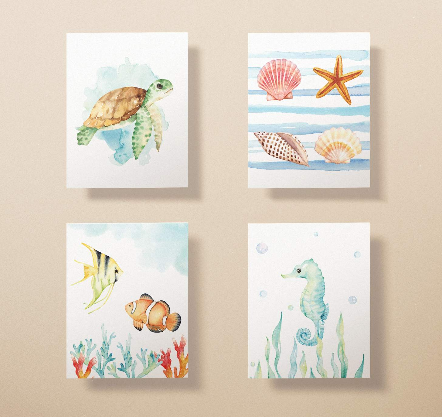 Four cards with watercolor seahorse, fish, seashells, and sea turtle designs