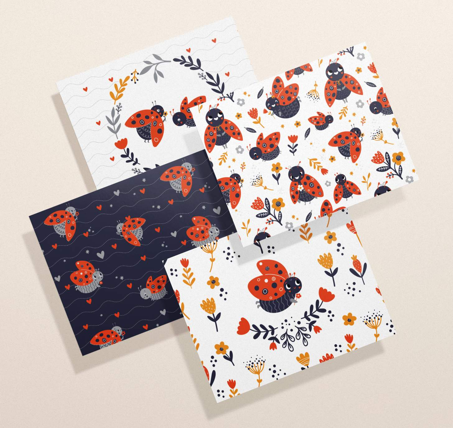 Four overlapping cards with assorted colorful bumble bee designs