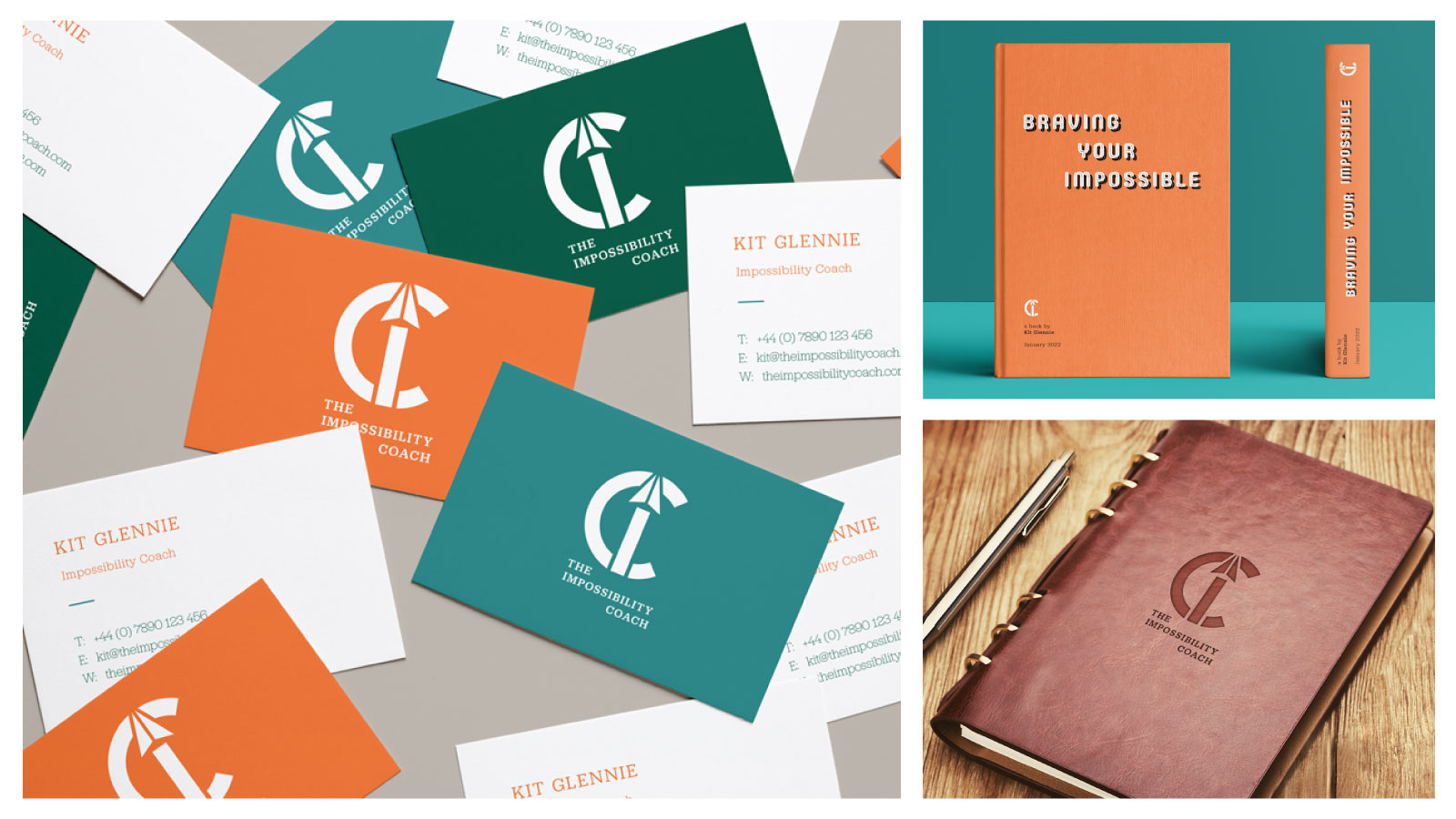 A collage of business cards, a book and a journal with the impossibility coach logo and colours applied.