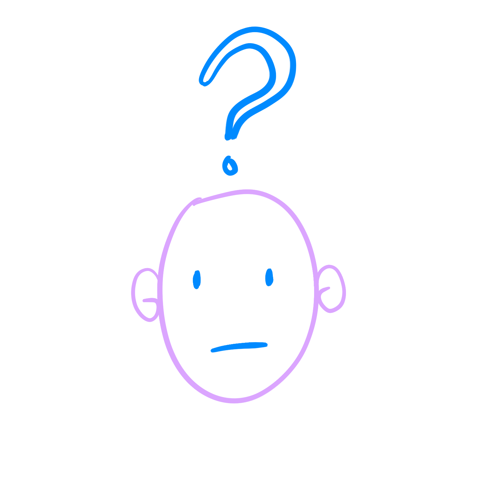 A confused face with a question mark above it