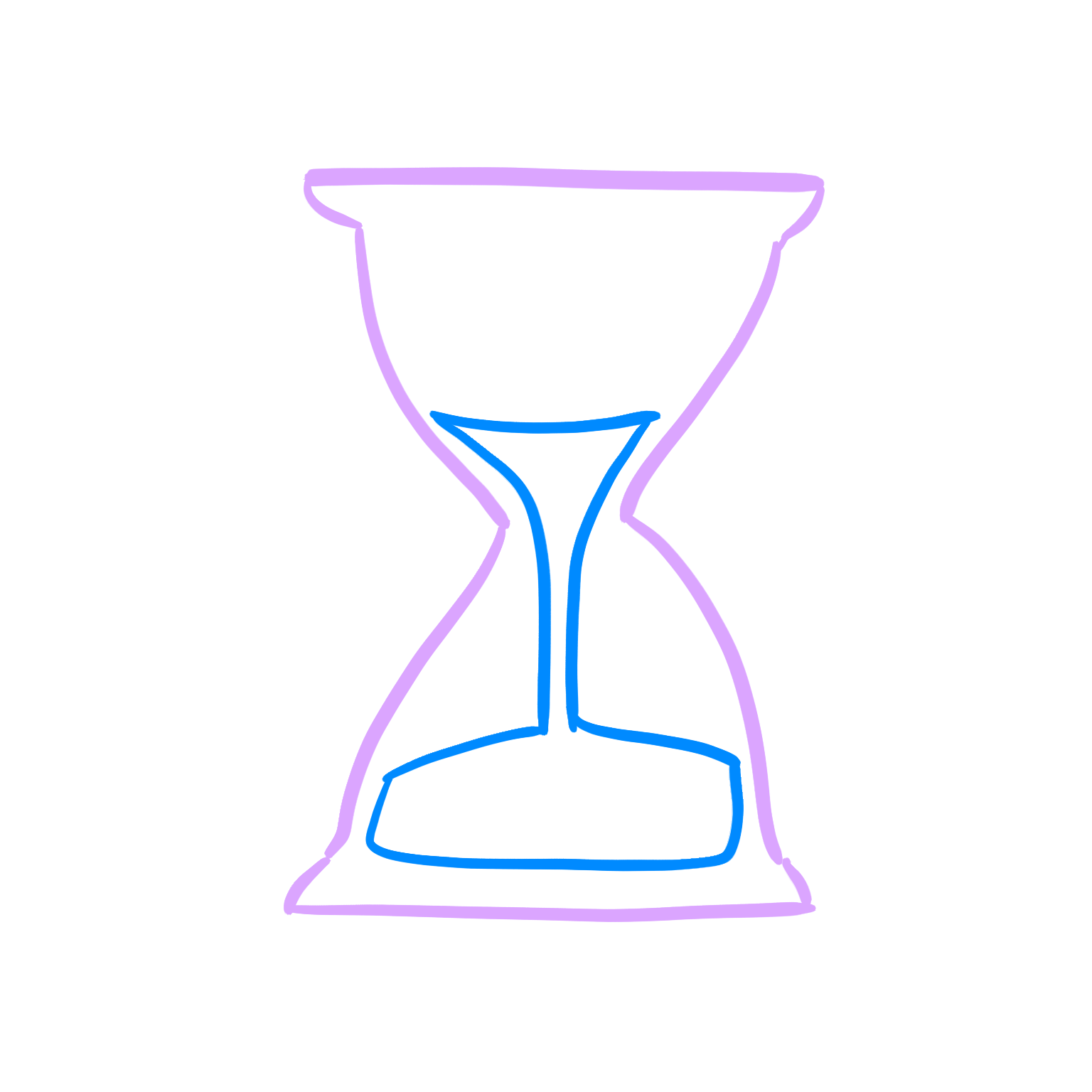 An image of an hourglass, signifying waiting