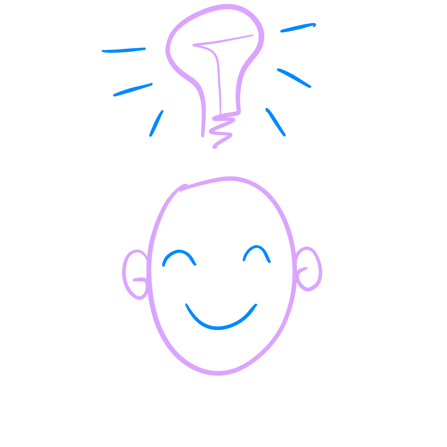 An image of a smiling face with an idea lightbulb above it