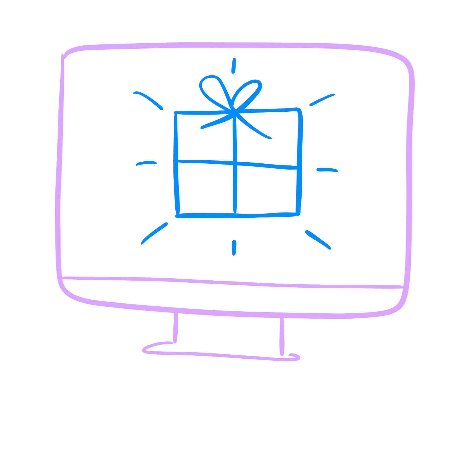 An illustration of a computer with a gift on the screen, showing the product that someone has created.