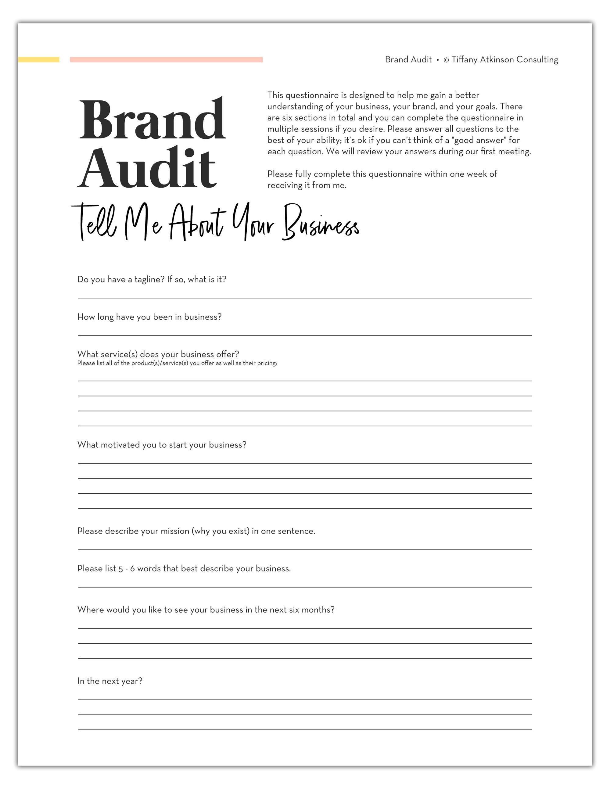 Personalized Brand Audit | Tiffany Atkinson Consulting | tiffanyatkinson.com