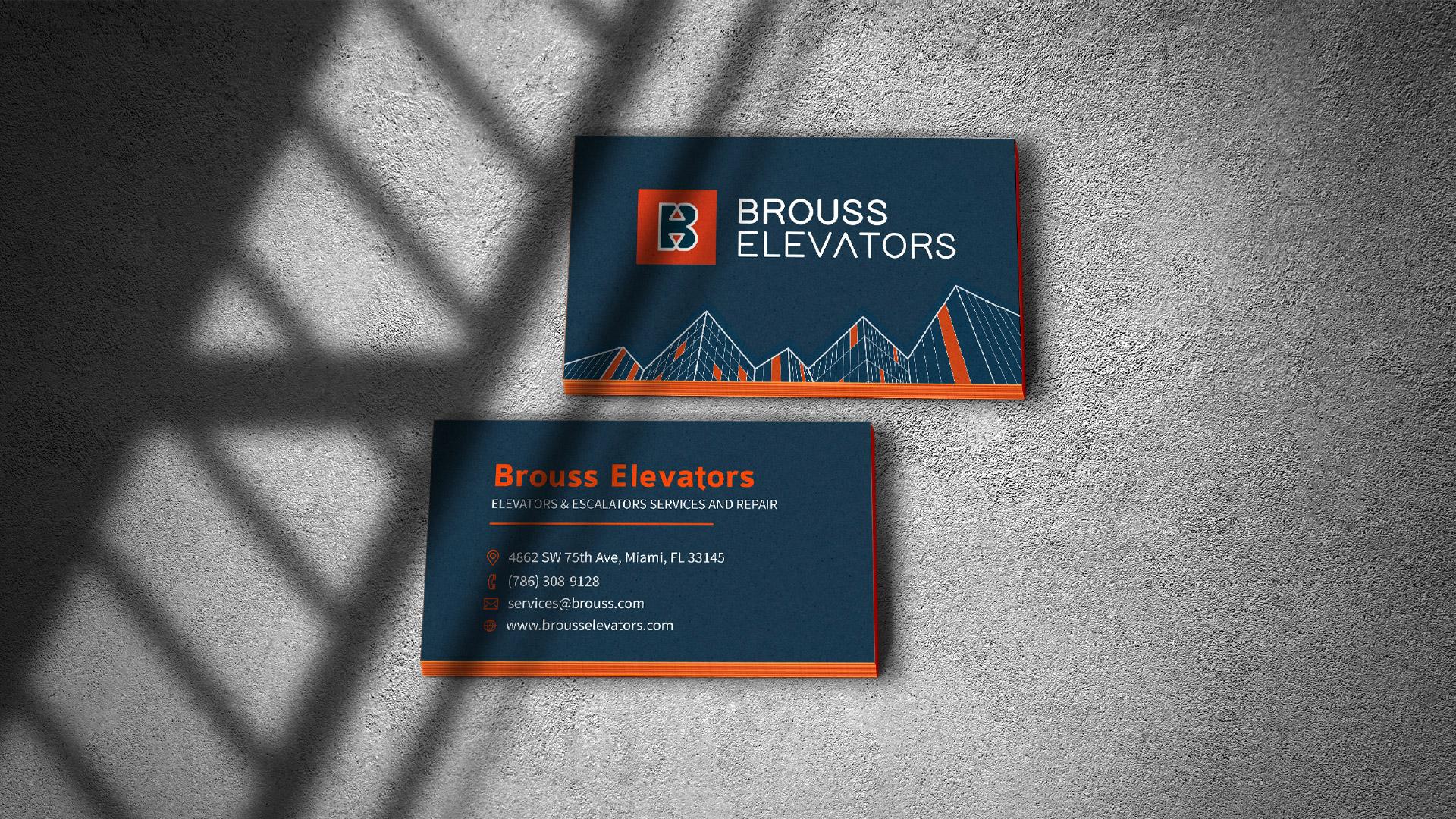 Brouss Elevators business cards design by Kinetik Lab