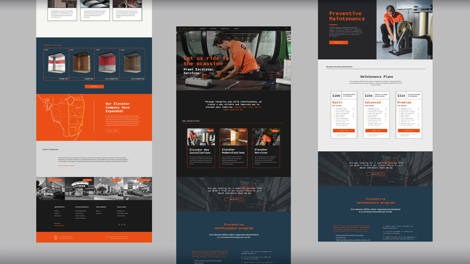 Brouss Elevators website development desktop version by Kinetik Lab