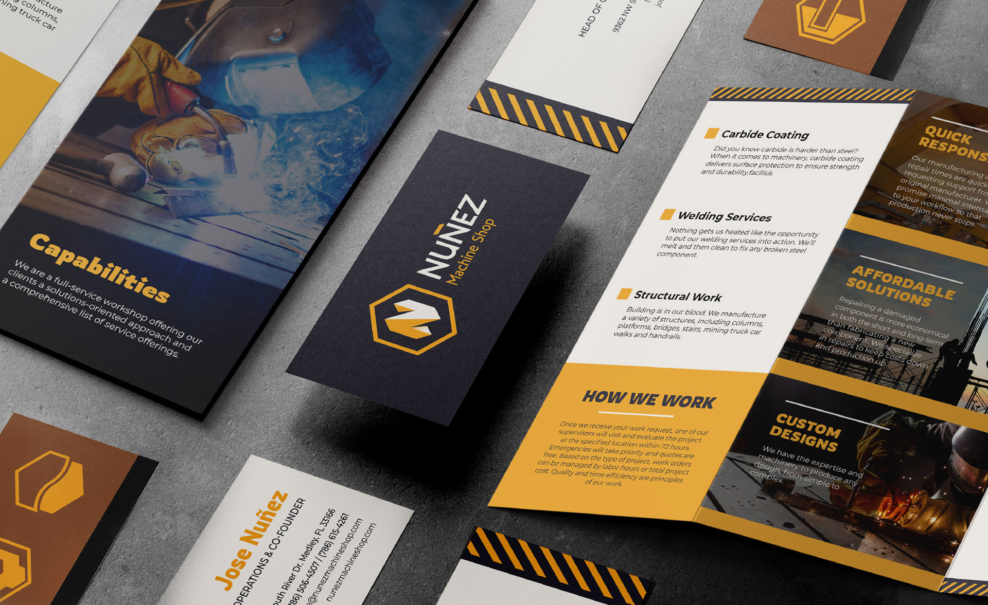 Nunez business cards and promotional brochure design by Kinetik Lab Miami