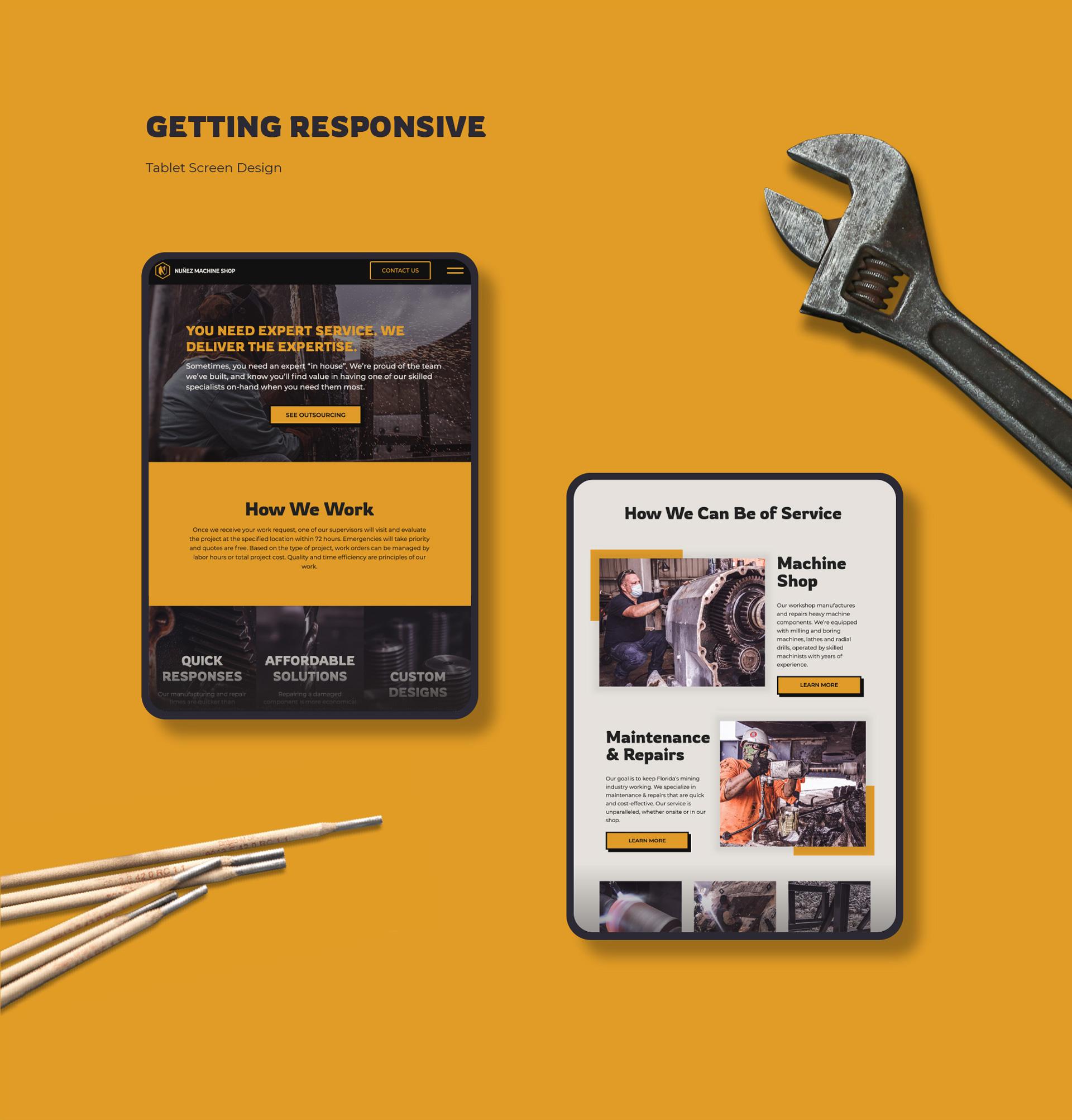 Nunez website tablet version design by Kinetik Lab