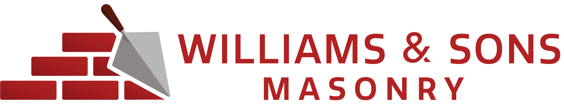 Williams & Sons Masonry logo with a brick and trowel