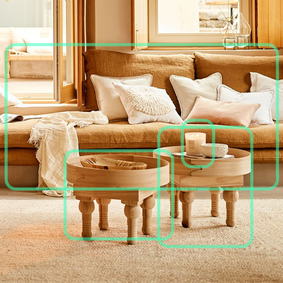 Bright lit living room with green AI boxes surrounding the furniture, identifying the objects.