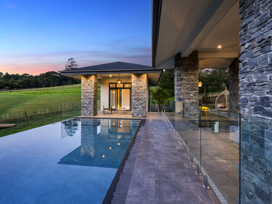 Swimming pool & evening lighting