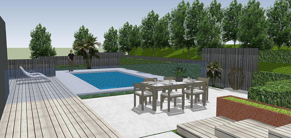Titirangi courtyard and pool