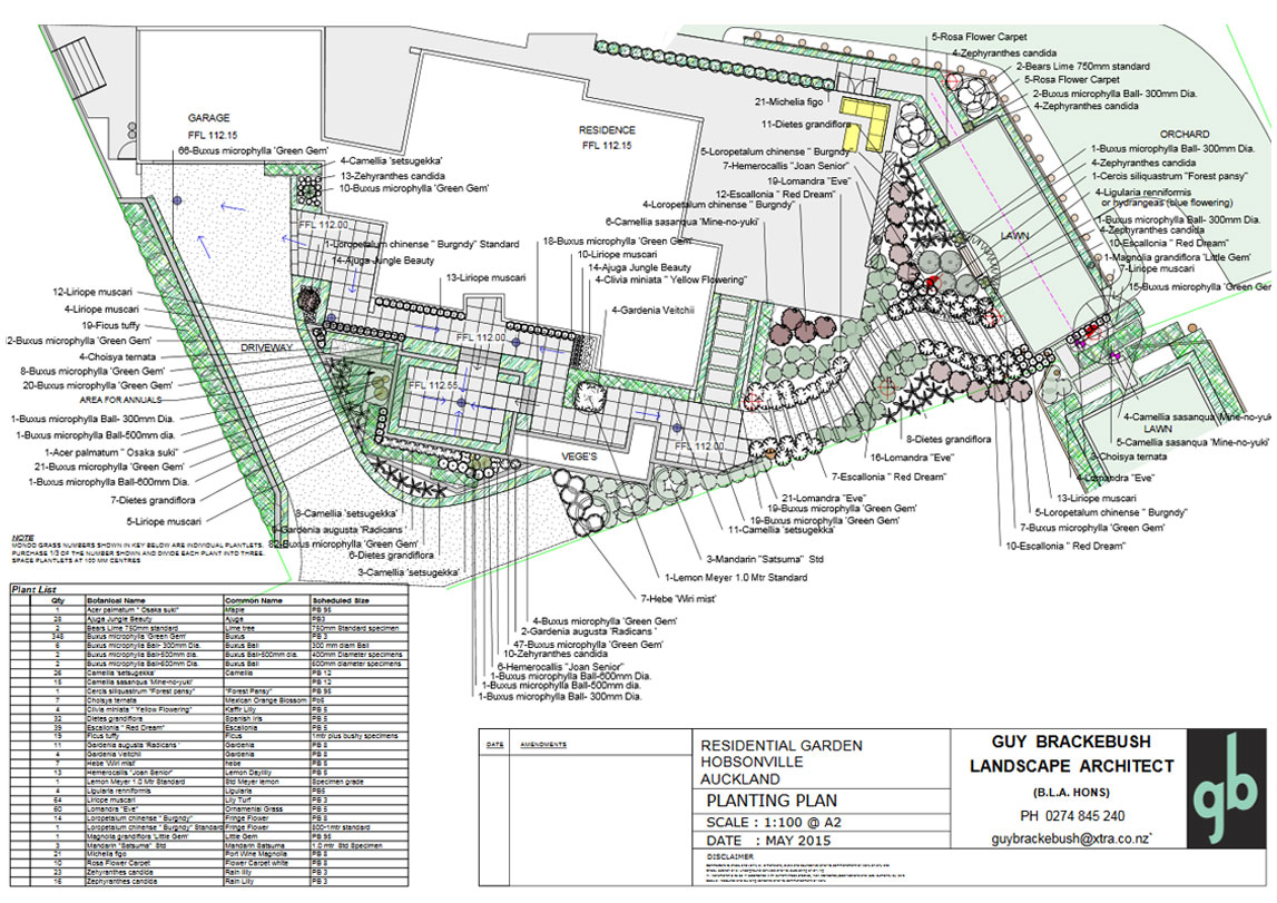 Hobsonville Planting plan