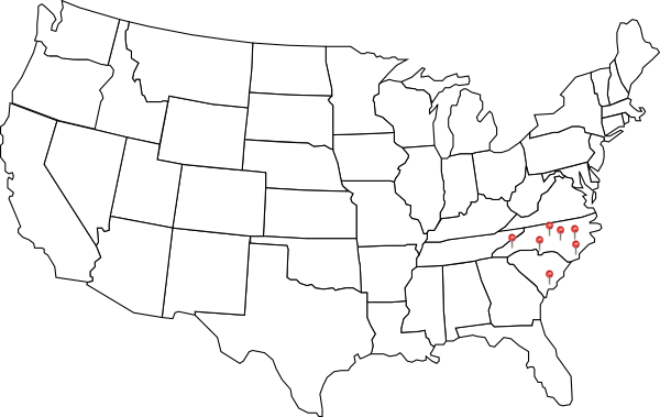 Map of United States with Sweeps locations marked