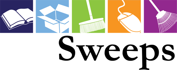Previous Sweeps logo, with icons for book, moving box, broom, computer mouse, rake