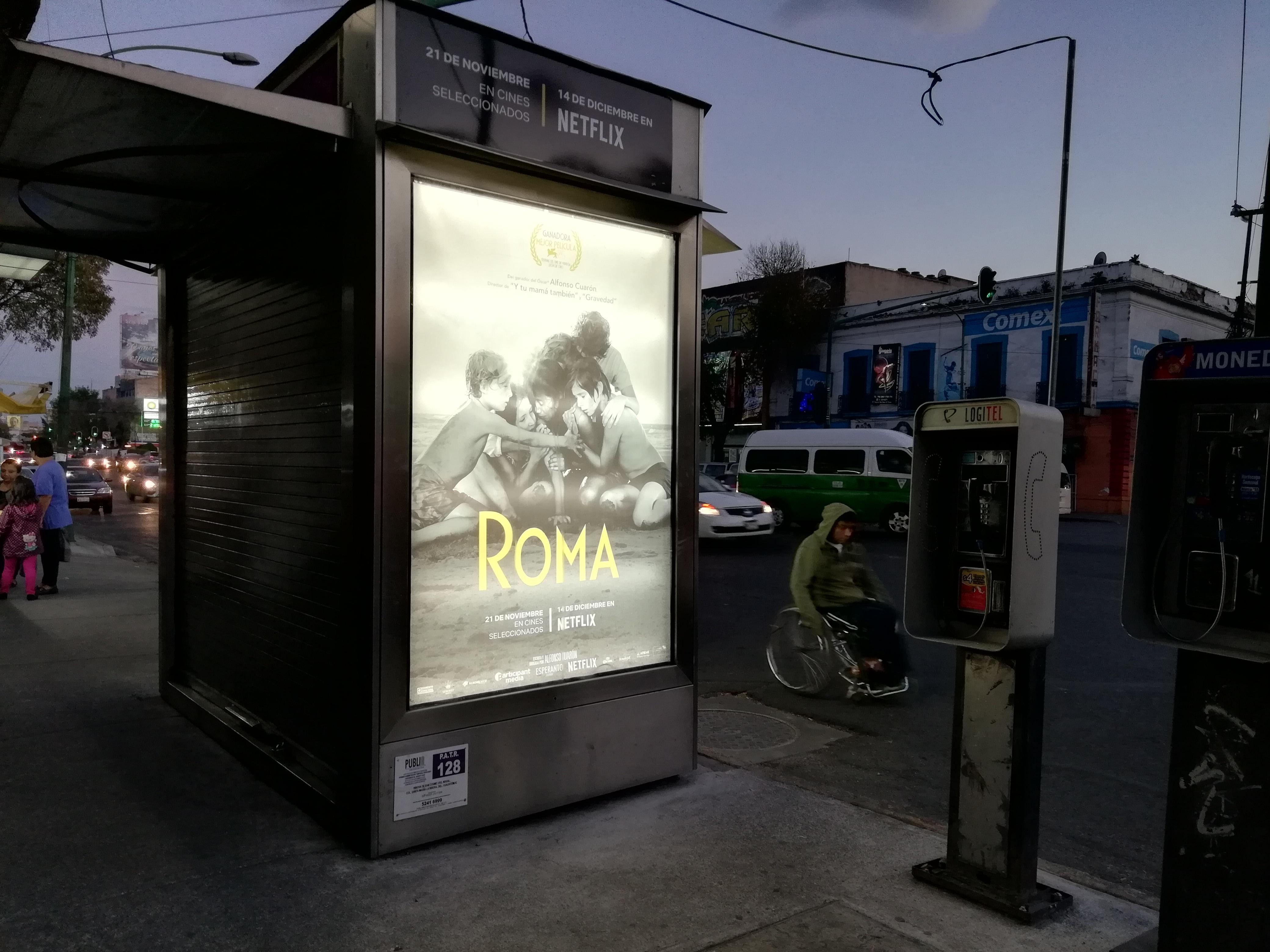 Annonce du film Roma (2018) sur l'Avenue Ribera de San Cosme à Mexico