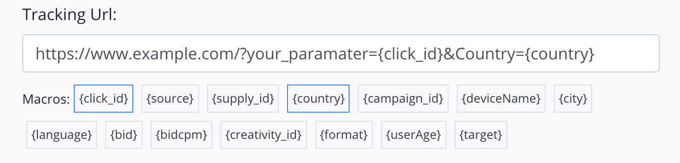 macros in a tracking url