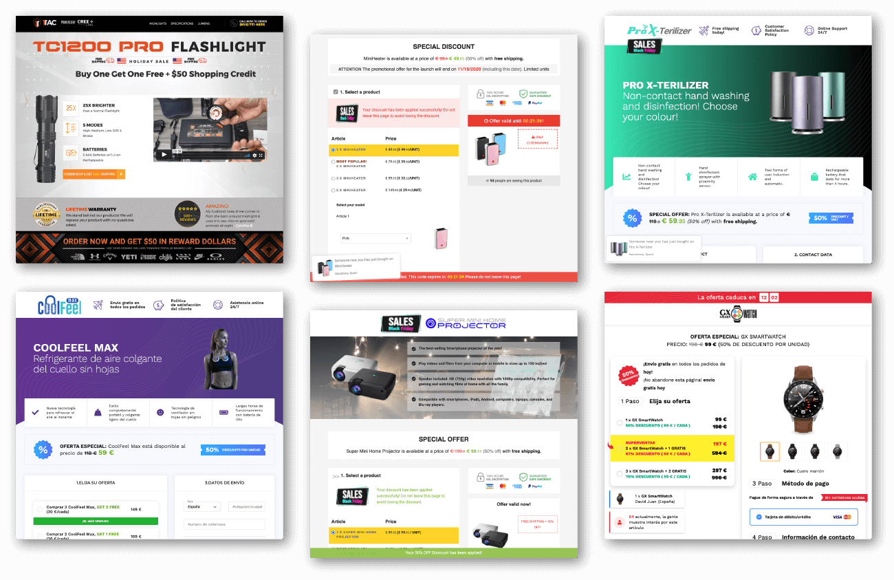 Ecommerce landings pages examples