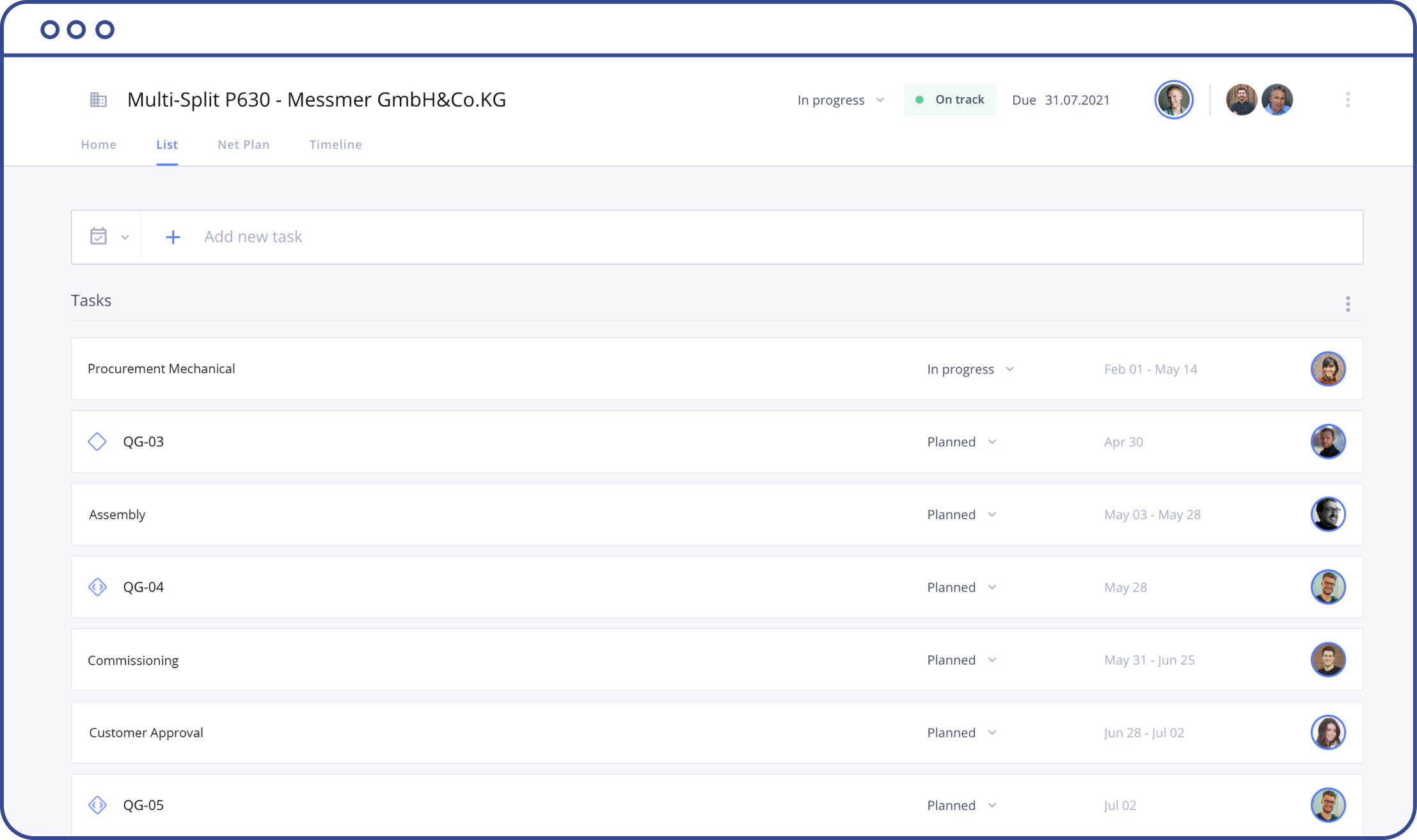 A screenshot of the Allex interface showing the task list view.