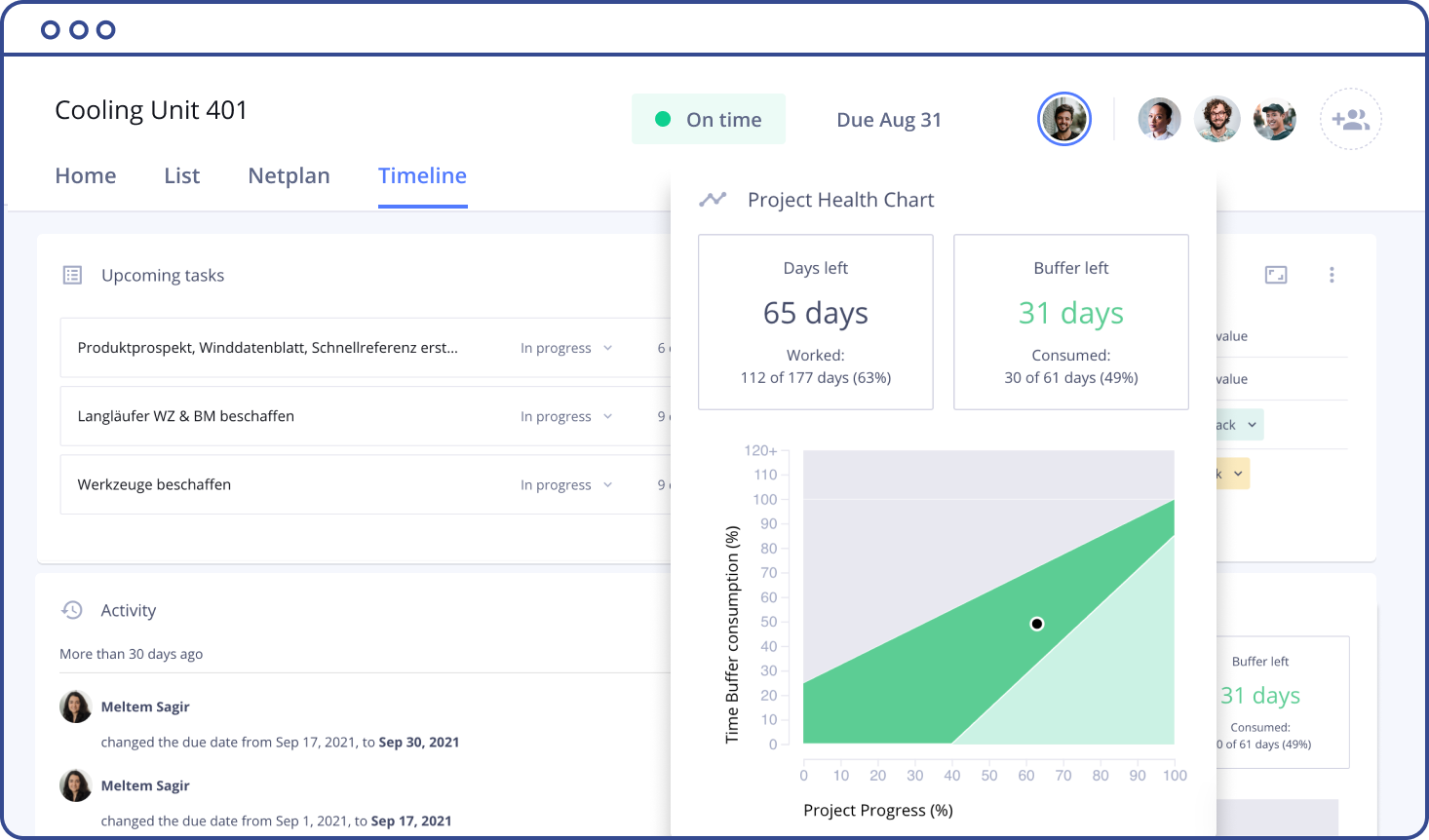A screenshot of the Allex interface showing a detailed project report and health chart.