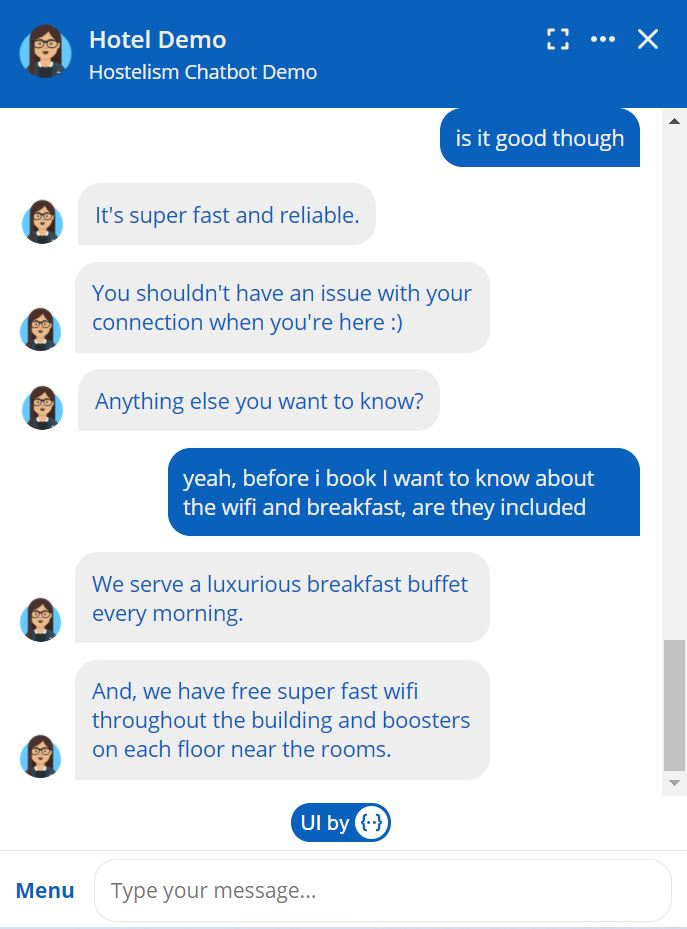 hotel chatbot solution - intents