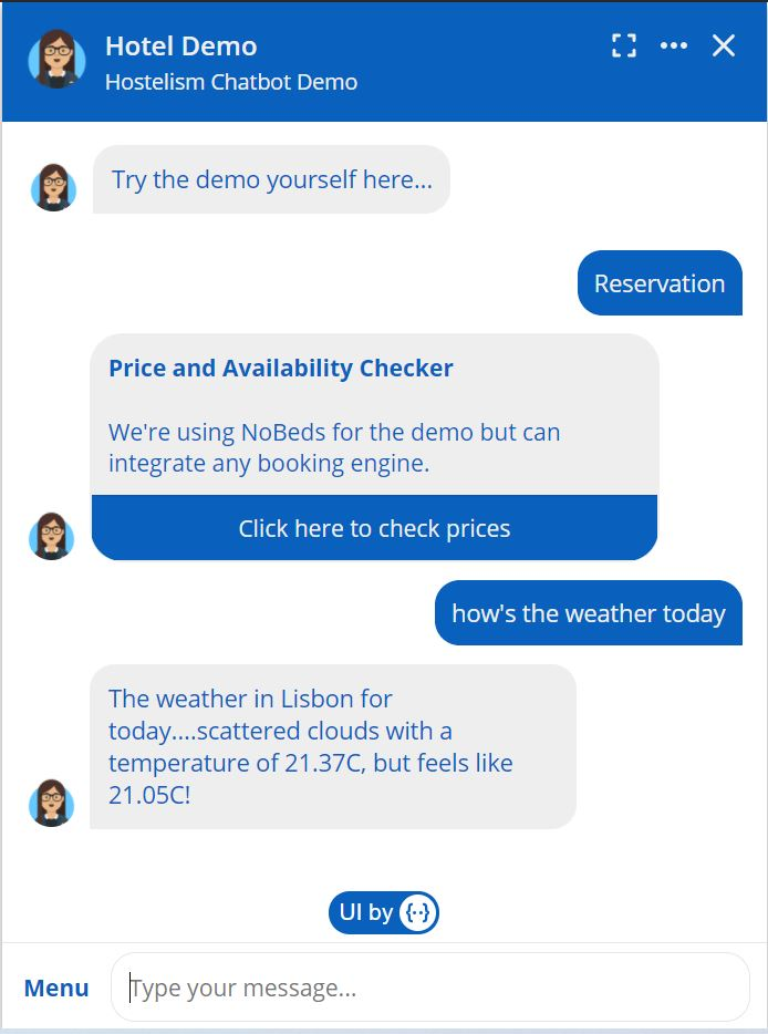 Hotel Chatbot Exmple