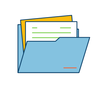 A file folder full of paper indicating organisation of evidence