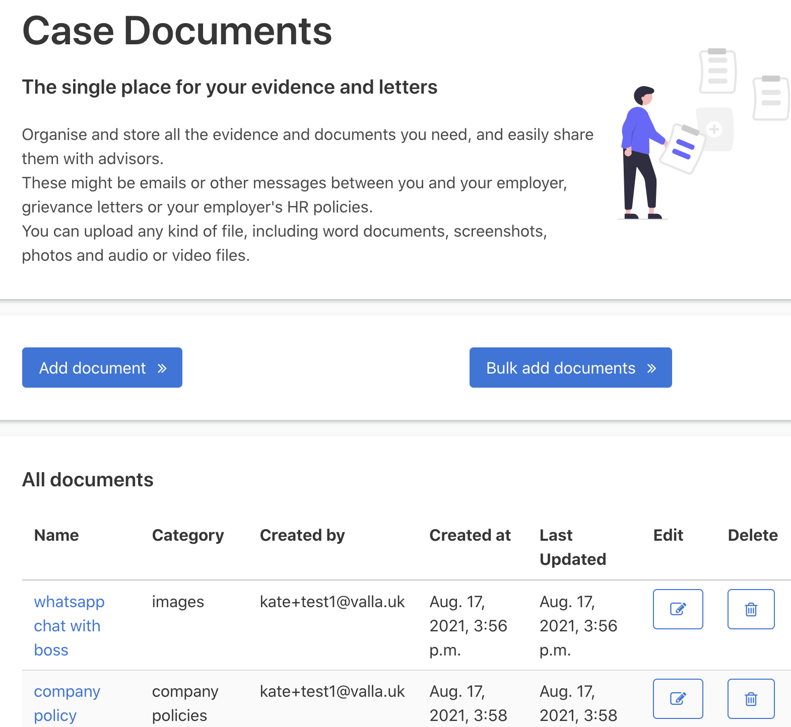 Screenshot from the Valla platform showing 'Case documents: The single place for your letters and documents'