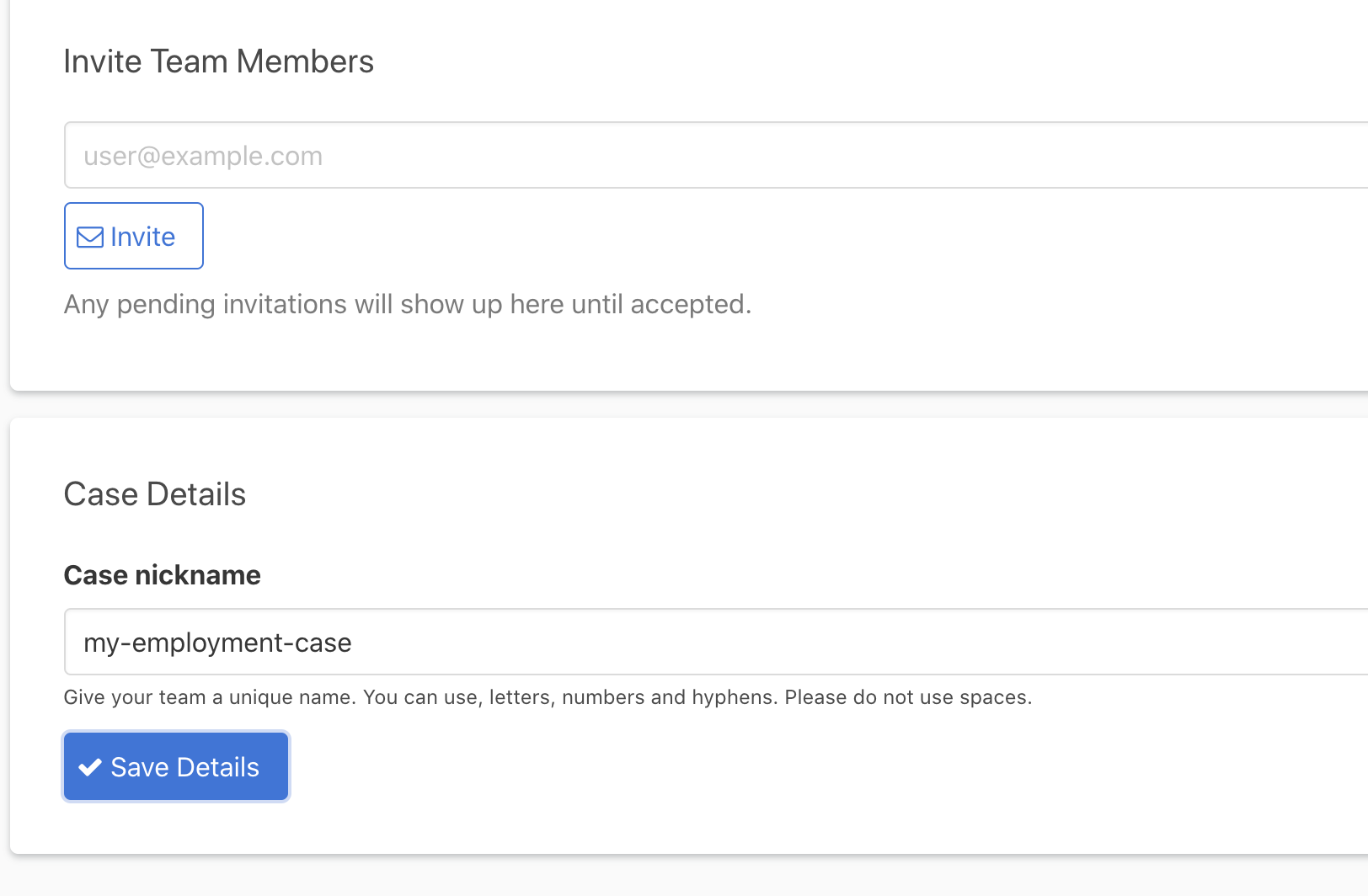 Screenshot from the Valla platform showing how you can invite others to your case