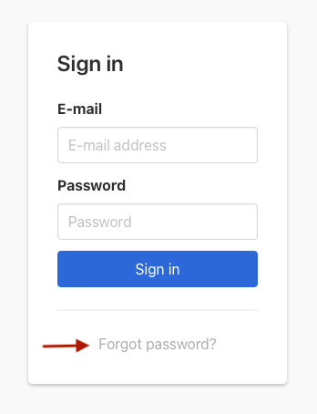 The Forgot Password link is next after 'Sign in'