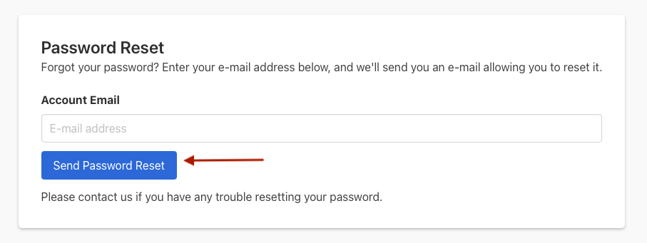 The Send Password Reset button is after the email input field