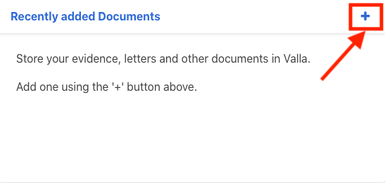 The + link comes next after 'Recently added Documents' on the Activities Feed page