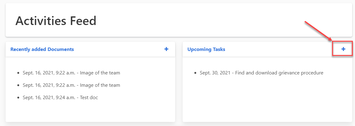 Screenshot highlighting the + button which comes after the Upcoming Tasks link when tabbing through.