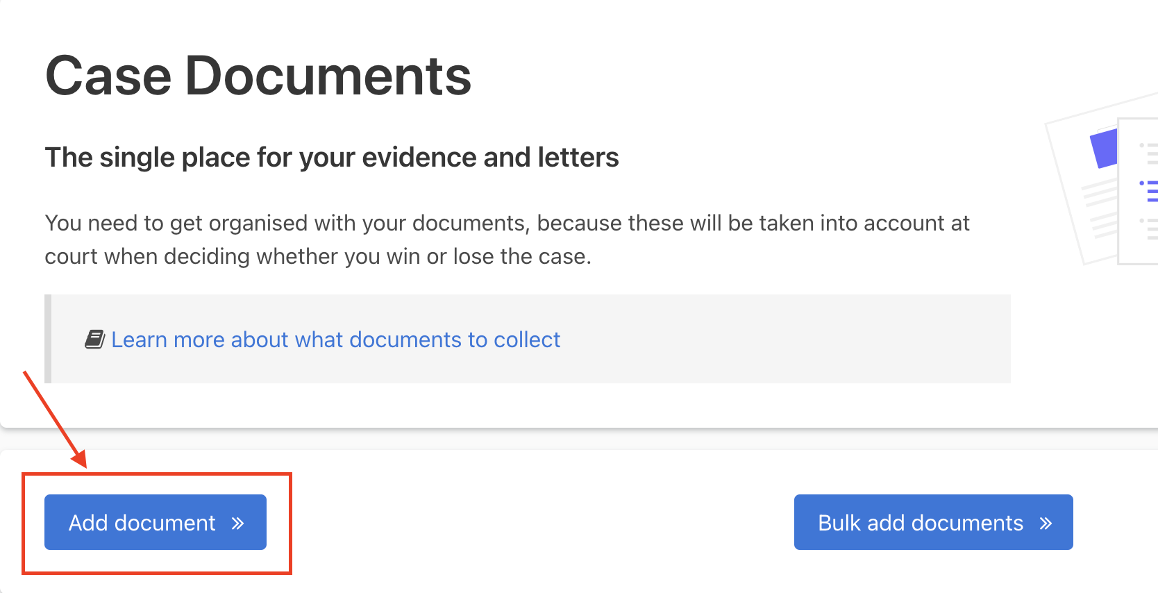 The 'Add document' button is the next link on the page after 'Learn more about what documents to collect'