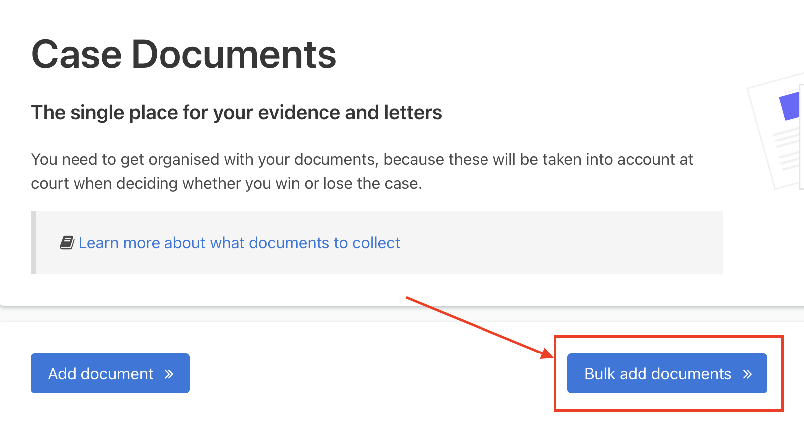 The 'Bulk add documents' button is next after the 'Add document' button