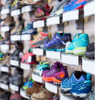 Shelves of running shoes