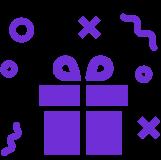Gift box with confetti