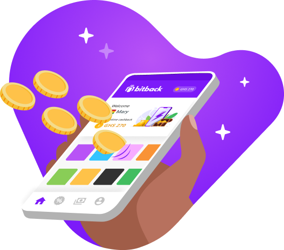 Bitback app on a mobile phone earning cashback and gold coins