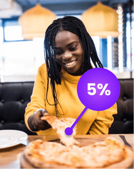 Woman eating pizza at a fast food restaurant with cashback offer