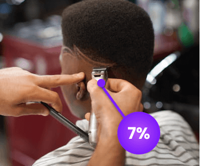 Man getting hair trimmed at barber shop with cashback offer