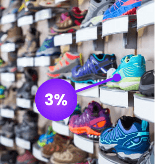 Shoe display in-store with a cashback offer