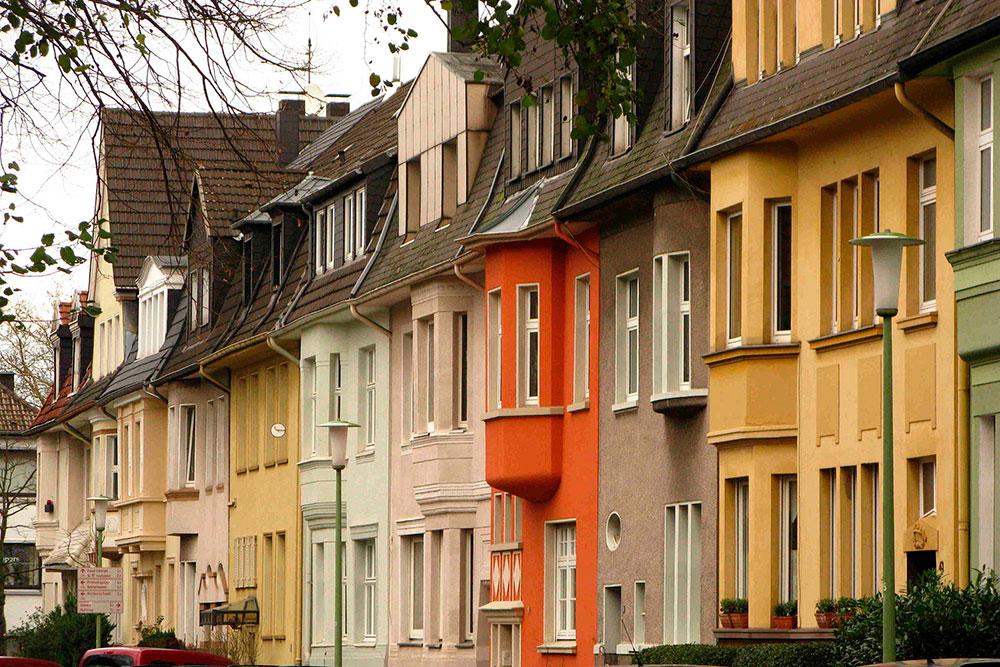 Hausfassaden, verschiedene Farben, Moltkeviertel Essen