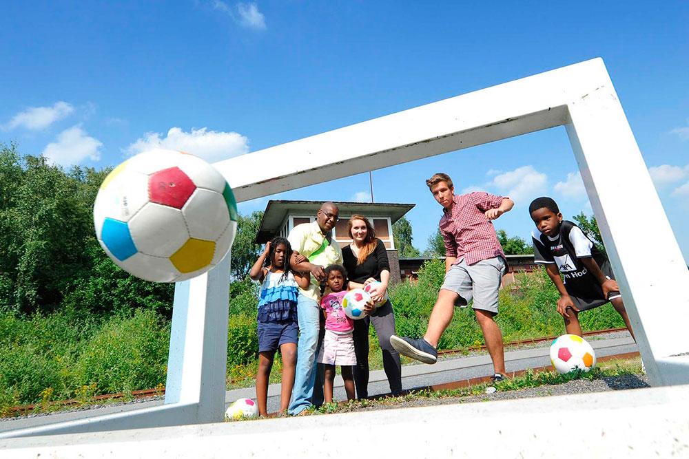 Soccer-Golf auf Zollverein Familie spielen