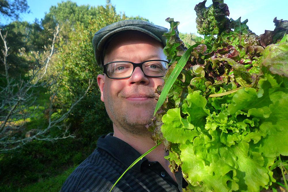 Junger Mann mit Brille, der einen Kopfsalat vor Gesicht hält