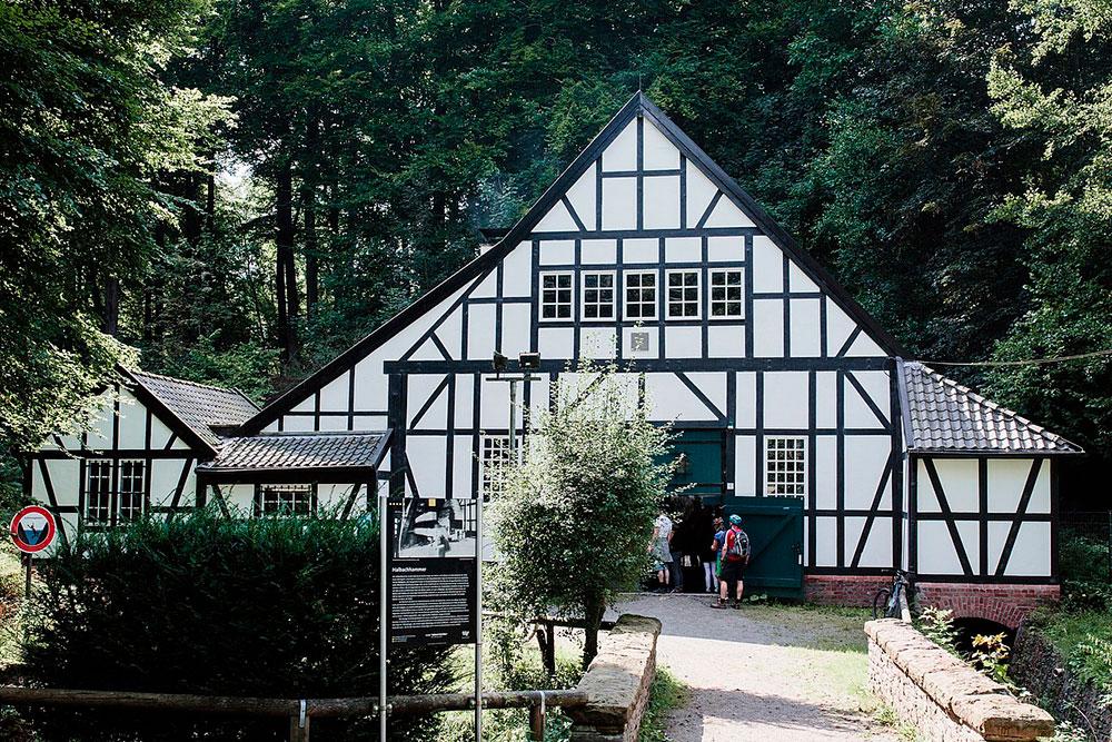 Alte Fachwerkhaus Halbachhammer im Nachtigallental vor Baume