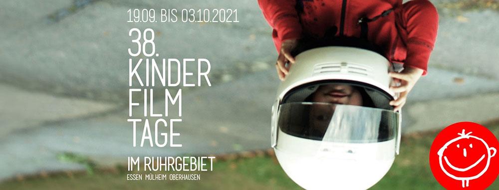 Plakat Kinderfilmtage Ruhrgebiet mit Kid mit Helm