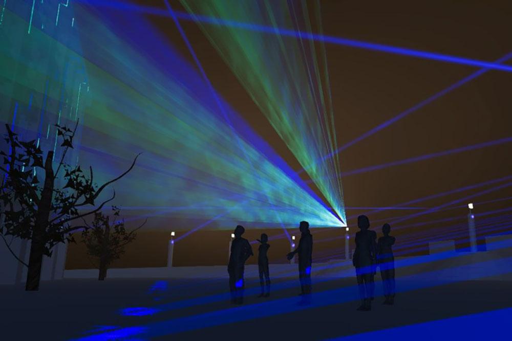 Laserinstallation am Weberplatz in Essen