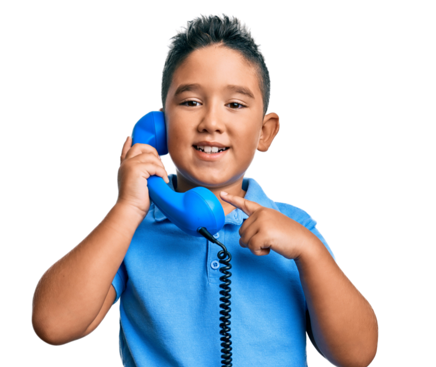 Young boy with phone