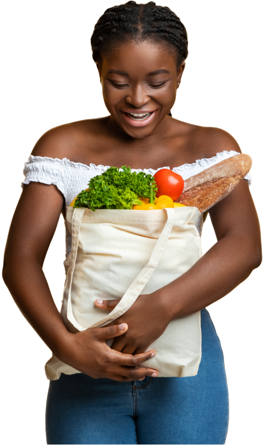 Woman with bag of groceries