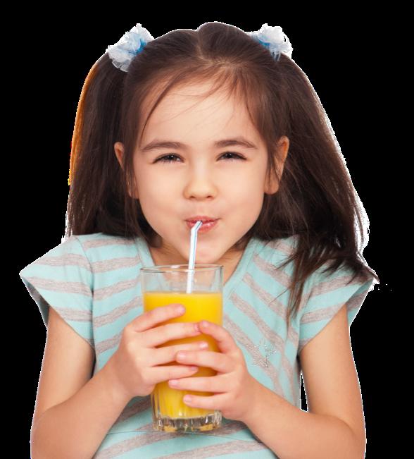 Girl sipping orange juice